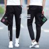 BB กางเกงเอวยางยืดเชือก มีกระเป๋า แต่งแถบข้าง (สีดำ) รุ่น208 ( รุ่น 2FJTo5I020 )
