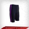 กางเกงรัดกล้ามเนื้อ ขาสั้น สีดำ-แถบม่วง