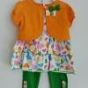 Gymboree ชุดเซ็ท 3 ชิ้น เสื้อแขนกุดลายผีเสื้อมาพร้อมเสื้อคลุมสีส้ม
