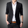 เสื้อสูทผู้ชาย สีดำ ทรงเข้ารูป สไตล์เกาหลี (สีดำ) (รุ่น 2EP8gjx040)