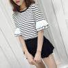เสื้อแฟชั่นสไตล์เกาหลี สีขาวลายริ้วดำ (รุ่น 2FKZIdo020)
