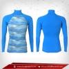 Body Fit เสื้อรัดรูป คอตั้ง แขนยาว สีพื้นหลังฟ้า - ลายฟ้า