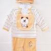 Baby Q : เซ็ท 5 ชิ้น มีชุดหมีแขนยาว เสื้อแขนสั้น กางเกงขายาว หมวก และผ้ากันเปื้อน