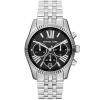 นาฬิกาข้อมือ Michael Kors รุ่น MK5708 Michael Kors Lexington Silver Chronom Roman Numerals Black Dial Watch MK5708 Size 38 mm