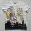 H&M : เสื้อยืดแขนสั้น สีขาว ลายสิงโต เสือ เนื้อผ้านิ่ม งานช้อป size : 8-10y