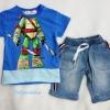 Kizzu : set เสื้อ+กางเกงยีนส์ 3 ส่วน เสื้อยืด สกรีนลาย นินจา สีน้ำเงิน