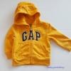 Gap : แจ็คเก็ท กันหนาวมีฮูด ซิปหน้า สีเหลือง Size : 18-24m / 3y / 4y