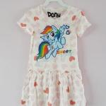 Pony : เดรสผ้า cotton ยีด ลายม้าโพนี่ Rainbow Dash สีขาวลายหัวใจ size : 4-6y