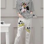 เซ็ตเสื้อยืดลายทางพิมพ์ลายมินนี่เมาส์และกางเกงเดนิมพิมพ์ลายมิกกี้เมาส์