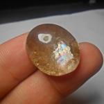 แก้วประกายรุ้ง+ปวก แก้วใส สวย ขนาด 2.4*1.9cm ทำหัวแหวน จี้ หรือ สะสม
