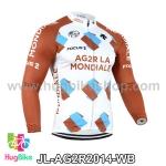 เสื้อจักรยานแขนยาวทีม AG2RLA Mondiale 14 สีขาวน้ำตาล สั่งจอง (Pre-order)