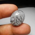 แก้วขนเหล็ก น้ำใสงาม เส้นแกร่งสวย ขนาด2.3x 1.9 cm ทำแหวน จี้ งามๆ