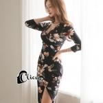 Dress อกไขว่หน้าพิมพ์ลายดอกพื้นดำดอกหลากสีคมชัด