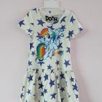Pony : เดรสผ้า cotton ยีด ลายม้าโพนี่ Rainbow Dash สีครีมลายดาว size : 1-2y / 2-4y / 6-8y / 8-10y