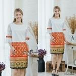 🌟พร้อมส่ง XL 🌟 ชุดเดรสผ้าลูกไม้เชิงเนื้อดี แขนระบายติดโบว์ ตัดต่อกระโปรงผ้า Cotton พิมพ์ลายไทยสวยๆ