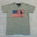POLO : เสื้อยืดลายธงชาติ สีเทา size : 6-8y