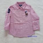 Polo : เสื้อเชิ๊ตแขนยาว สีชมพู size : 5T / 6T / 7T / 8T