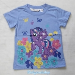 H&M : เสื้อยืดสกรีนลาย โพนี่ ดอกไม้ สีฟ้า size 6-8