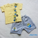 Carter's : ชุดset เสื้อ+กางเกง สกรีนลาย Minion สีเหลือง เทา (งานป้าย) size : 7T / 8T