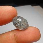 แก้วขนเหล็ก+กาบเงิน เส้นแกร่ง สวย ขนาด 1.8x 1.3 cm ทำแหวน จี้