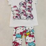 H&M : Set เสื้อยืดสีขาว + เลกกิ้ง สกรีนลายคิตตี้ (งานป้ายผิด) size : 8-10y
