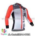 เสื้อจักรยานแขนยาวทีม Castelli 14 สีขาวเทาแดง สั่งจอง (Pre-order)