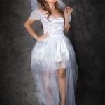 เช่าชุดแฟนซี &#x2665 ชุดแฟนซี ฮาโลวีน เจ้าสาวซอมบี้ แขนระบาย สีขาว