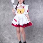 เช่าชุดแฟนซี &#x2665 ชุดแฟนซี ชุดเมด Maid สีแดง โบว์เหลือง รูดระบาย