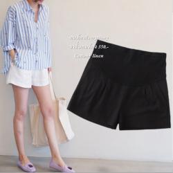 กางเกงขาสั้นคนท้อง สีดำ ผ้าลินิน+ฝ้าย