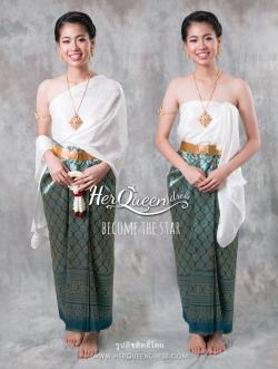 เช่าชุดไทย &#x2665 ชุดไทย แยกชิ้น ผ้าสไบไหมมีลายในตัวสีขาว ผ้าซิ่นจับหน้านางสีเขียวเหลือบแมงทับ