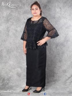 สินค้าขาย &#x2665 ชุดดำ ไว้อาลัย ไซส์ 44 เสื้อลูกไม้คอผ้าแก้ว แขนกระดิ่ง กระโปรงยาวผ้าไหมอิตาลี