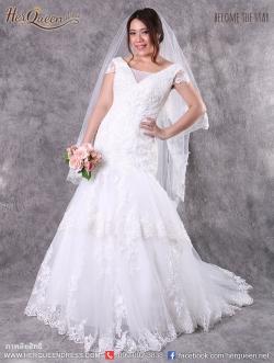 เช่าชุดแต่งงาน &#x2665 ชุดแต่งงาน ชุดชุดเจ้าสาว ลูกไม้ฝรั่งเศล เสื้อมีแขน ชายระบายลูกไม้เป็นชั้นๆ หางปลา
