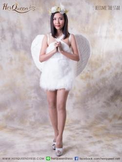 เช่าชุดแฟนซี &#x2665 ชุดแฟนซี ฮาโลวีน ชุดนางฟ้า เดรสขนนกแท้ สีขาว พร้อมที่คาดผม ปีก ไม้คฑา