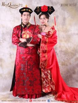 เช่าชุดแฟนซี จีน &#x2665 ชุดแฟนซี ย้อนยุค ชุดคู่ฮ่องเต้และฮองเฮาปกตั้ง - เซ็ทสีแดง
