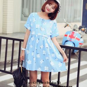 ชุดคลุมท้อง : ชุดคลุมท้องแฟชั่น ชุดเดรสคนท้อง Blue flower dress คนท้อง