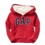 Gap : Jacket มีฮูด ซิปหน้า ด้านในบุขนหนานุ่ม สีแดงเข้ม size : 3T thumbnail 1
