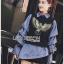 เสื้อผ้าแฟชั่น Set เซ็ตเสื้อแขนกุดสีดำปักหมุดลายนกทับเสื้อเชิ้ตตกแต่งแขนเลเยอร์ thumbnail 6