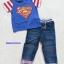 Coolelves : Set เสื้อ Superman สีน้ำเงิน พร้อม กางเกงยีนส์ขายาว size : 80 / 110 thumbnail 1