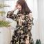 เดรสเกาหลีผ้าออแกดี้แบบนิ่มพิมพ์ลายดอกไม้โทนเขียวครีม thumbnail 5