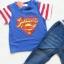 Coolelves : Set เสื้อ Superman สีน้ำเงิน พร้อม กางเกงยีนส์ขายาว size : 80 / 110 thumbnail 3