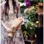 เดรสผ้าลูกไม้สีสดใสตกแต่งระบายและผ้าแถบลายทาง thumbnail 4