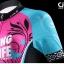 ชุดจักรยานผู้หญิงแขนสั้นขาสั้น CheJi 16 (02) สีชมพูฟ้าดำ ลายผีเสื้อ Recing is life สั่งจอง (Pre-order) thumbnail 4
