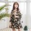 เดรสเกาหลีผ้าออแกดี้แบบนิ่มพิมพ์ลายดอกไม้โทนเขียวครีม thumbnail 3