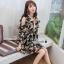 เดรสเกาหลีผ้าออแกดี้แบบนิ่มพิมพ์ลายดอกไม้โทนเขียวครีม thumbnail 2