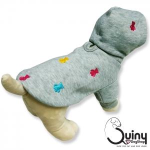 เสื้อสุนัข ลายหมี สีเทา