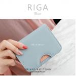 กระเป๋าใส่บัตร กระเป๋าสตางค์ เอนกประสงค์ รุ่น RIGA สีฟ้า