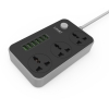LDNIO Power Strip with 3 AC Sockets + 6 USB Ports - Black / EU Plug SC3604 ชุดปลั๊กไฟ 2 เมตร + USB 3.4AC 6 ช่อง