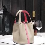 กระเป๋าหนังวัว รุ่น Picotin 18' Gray- pink