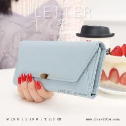 กระเป๋าสตางค์ผู้หญิง รุ่น LETTER สีฟ้า