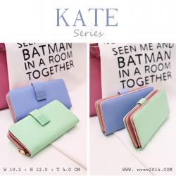 กระเป๋าสตางค์ผู้หญิง รุ่น KATE สีเขียวมิ้นท์ ใบยาว